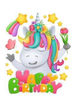 Радуга единорог мультипликационный персонаж с цветком в руке. шаблон поздравительной открытки на день рождения
