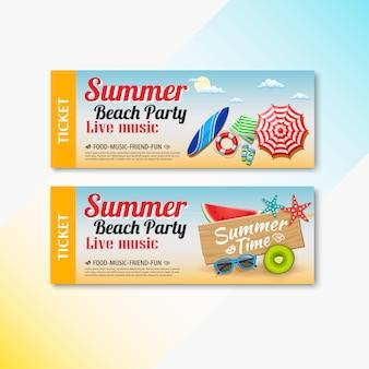 夏のビーチ音楽チケットテンプレート