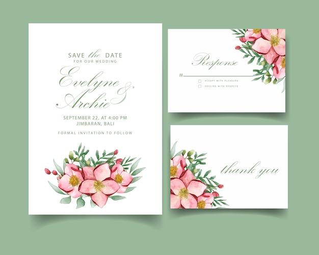 モクレンの花の結婚式の招待カード
