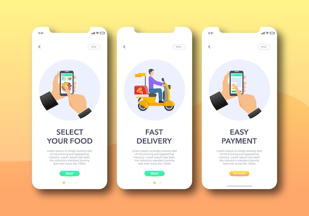 食品アプリのオンボーディング画面