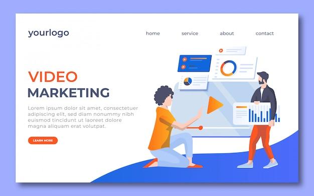 ビデオマーケティングのランディングページのデザイン。このランディングページでは女性がビデオタブを表示し、男性が市場戦略を持っています。