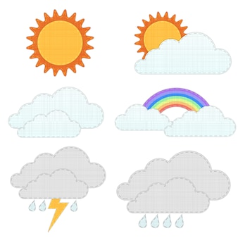 天気アイコン、リサイクルファブリッククラフトスタイル。