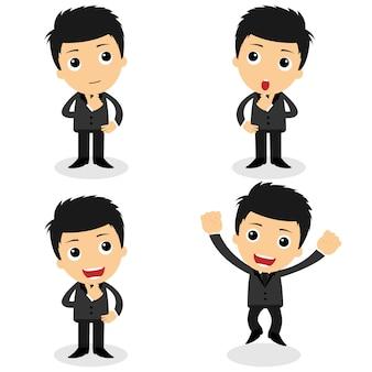 様々なかわいいキャラクターのビジネスマンやオフィスワーカーのポーズ