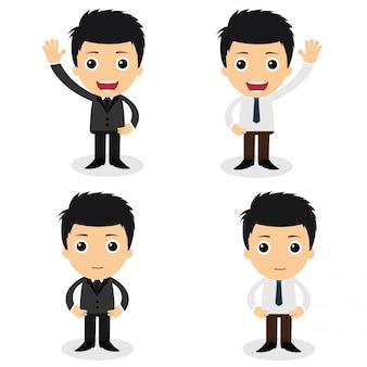 かわいい実業家キャラクターと会社員のセットが様々なポーズを取ります。