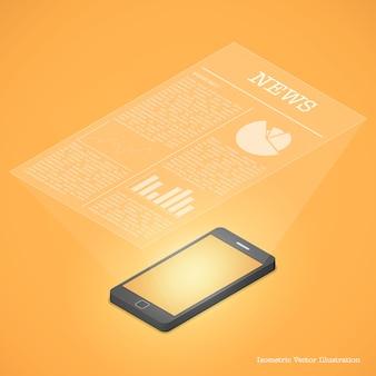 スマートフォン通信の概念スマートフォンのニュース。
