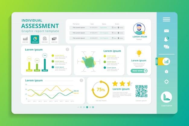 Обзор профиля инфографики на экране дисплея