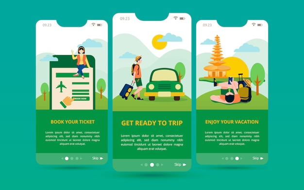 旅行アプリケーション用のモバイル画面ディスプレイのセット