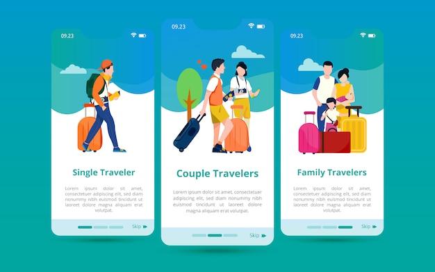 数に基づいたツアーの種類のイラスト付きの画面ユーザーインターフェイスのセット