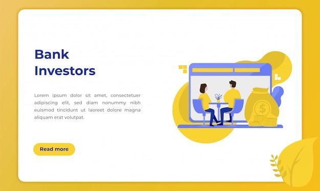 銀行投資家、ランディングページの銀行業界をテーマにしたイラスト