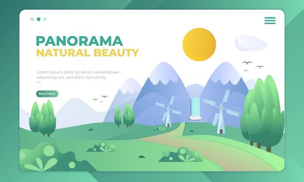 自然の美しさ、ランディングページのパノラマイラスト