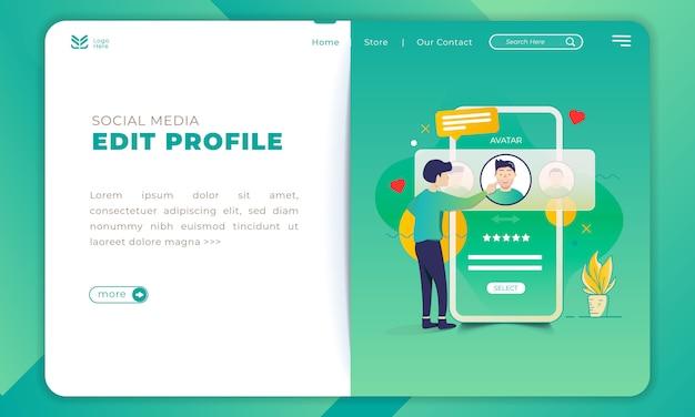 Иллюстрация редактирования профиля в приложении для социальных сетей