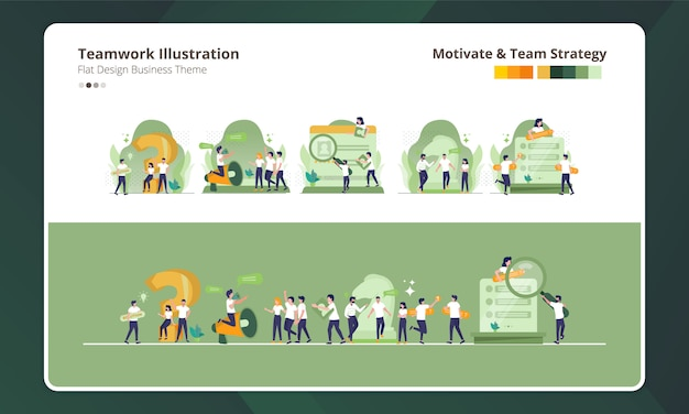Плоский дизайн коллекции иллюстраций командной работы, мотивации и командной стратегии