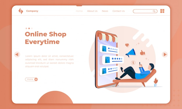 Плоская иллюстрация интернет-магазины каждый раз на целевой странице
