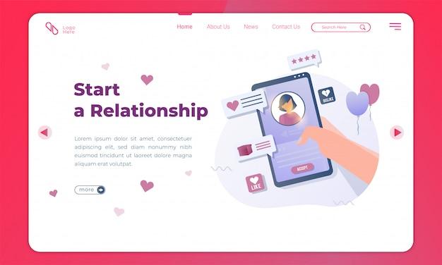 Плоская иллюстрация начала отношений с помощью приложения для знакомств