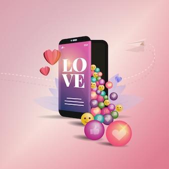 Плоский дизайн смайлики любят выходить из мобильного телефона