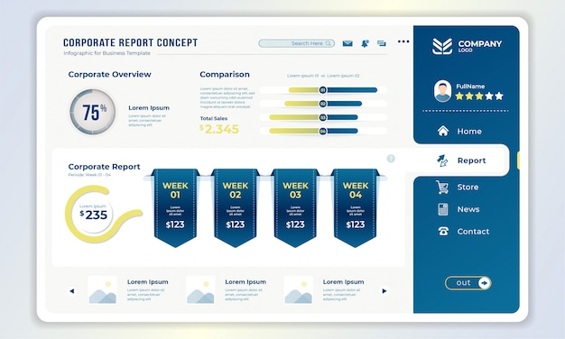 Шаблон панели инструментов с концепцией корпоративного отчета