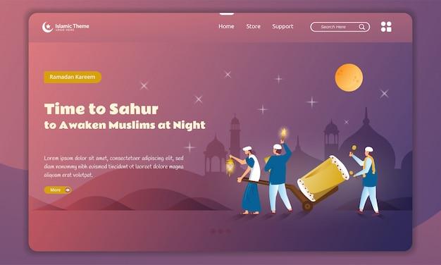 Плоский дизайн пробуждения мусульманина ночью или сахур для концепции рамадан на целевой странице