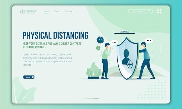 Придерживайтесь физического расстояния с другими людьми на целевой странице