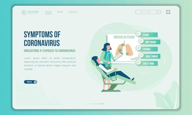 Медицинский осмотр, чтобы найти иллюстрацию симптомов коронавируса на целевой странице