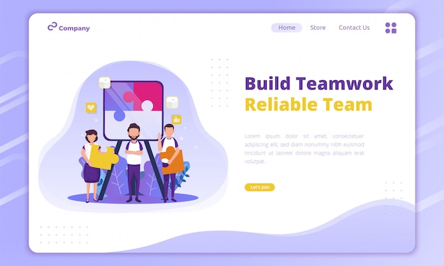 ランディングページの創造的なビジネスコンセプトのチームワークを構築する信頼性の高いチームのフラットなデザイン