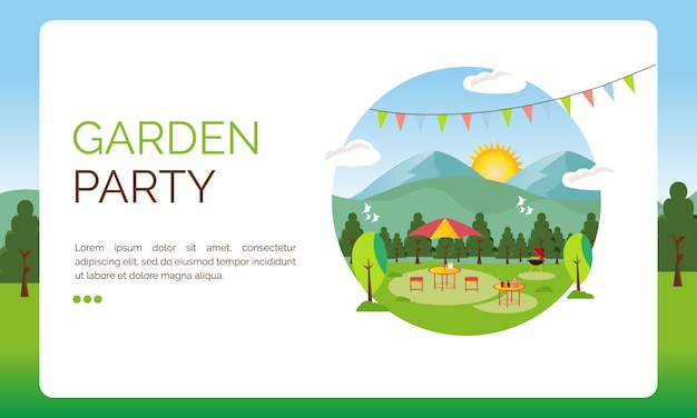 ランディングページのイラスト、ガーデンパーティーの装飾