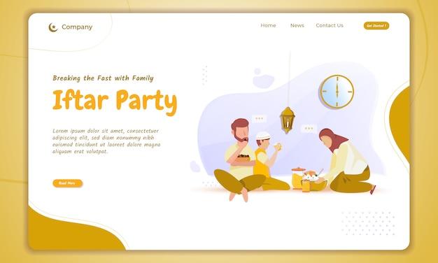 Иллюстрация семьи ифтар для концепции рамадан на целевой странице