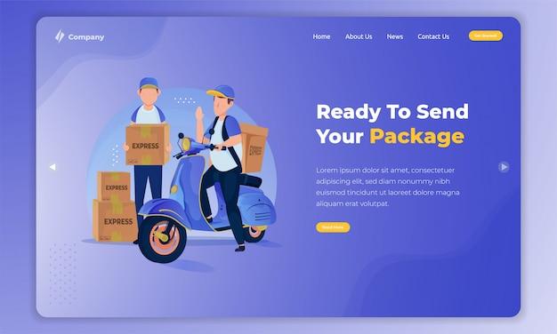ランディングページのコンセプトにパッケージを提供する準備ができている人の平らなイラスト