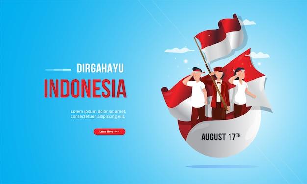 インドネシア独立記念日の概念のための赤と白の旗を持つ若者の愛国心が強いイラスト