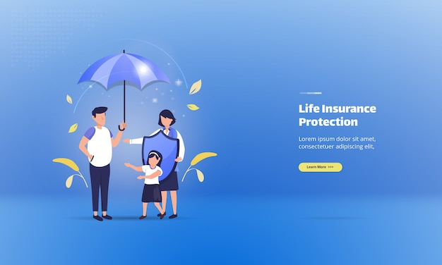 イラストのコンセプトに生命保険で家族を守る
