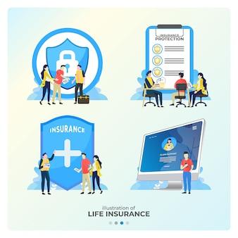 生命保険のイラストのセットは、保証に参加