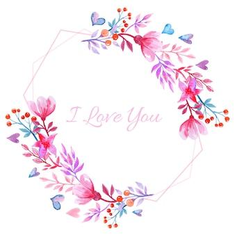 ピンクの水彩バレンタイン背景