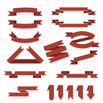 Набор красных лент, закладки в плоском стиле