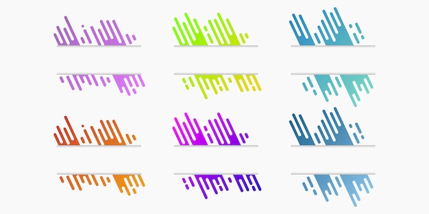 Векторный набор вырезанных из бумаги баннеров с динамическими градиентными закругленными линиями