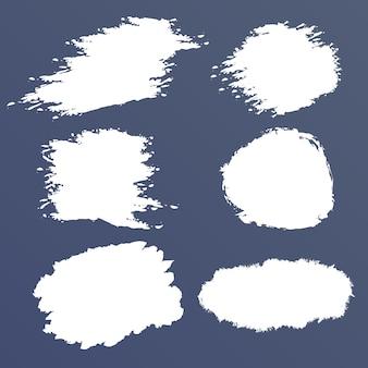 Белый гранж набор, пятна кисти, мазки, баннеры, бордюры