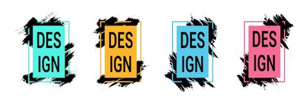 Цветные рамки с черными мазками для текста, графика современного искусства