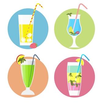 Набор иконок коктейлей, плоский стиль