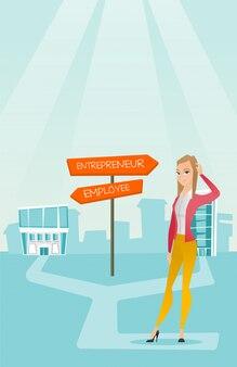 混乱している女性はキャリアの経路を選択します。