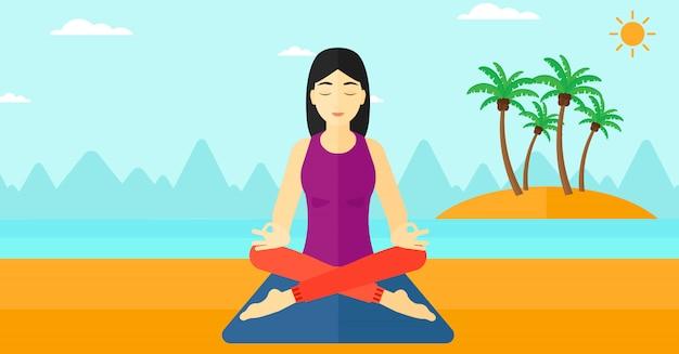 ロータスポーズで瞑想の女性。