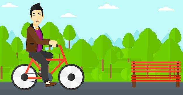 男に乗る自転車