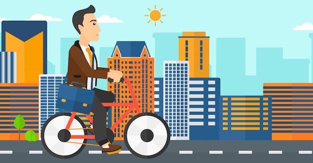 仕事にサイクリングの男