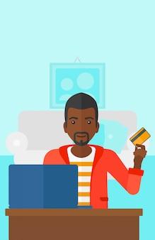 オンラインで購入する男性