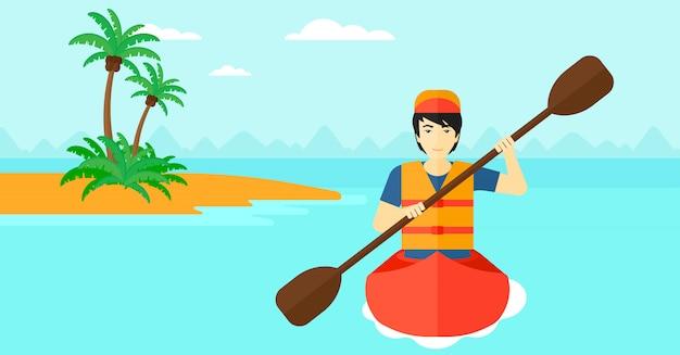 カヌーに乗って男