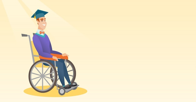 大学院の車椅子のベクトル図に座っています。