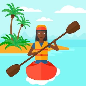 カヌーに乗る女性