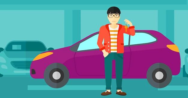新しい車からキーを保持している男。