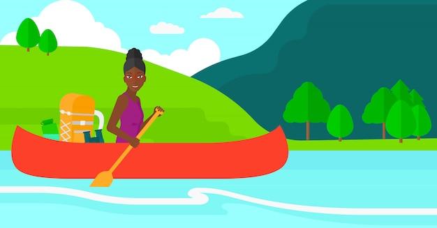 川でカヌーの女性。