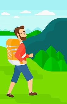 Человек с рюкзаком пешие прогулки.