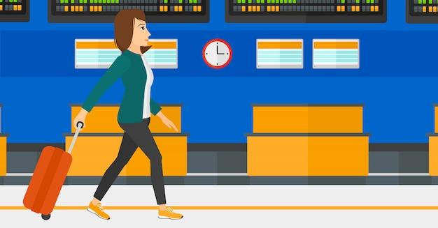 スーツケースと一緒に歩いている女性