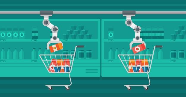 ショッピングトロリーに食料品を置くロボットアーム。