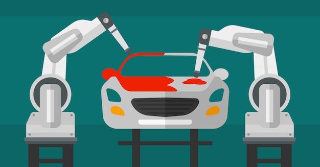 生産ラインのロボットアーム塗装車。